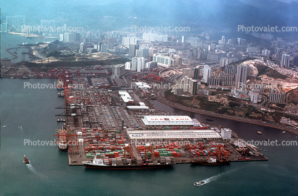 SeaLand, Sea Land, Docks, Port, Pier, Hong Kong, Harbor, 1982, 1980's