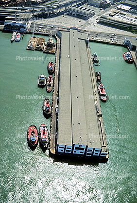 tug boats docked along a pier, San Francisco, The Embarcadero, Downtown, Dock, Harbor