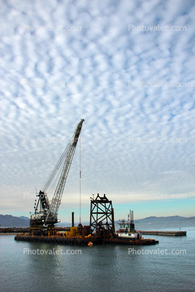 Clamshell Dredge, clouds, the Marina