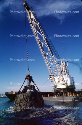Clamshell Dredge, Crane, barge, China Basin