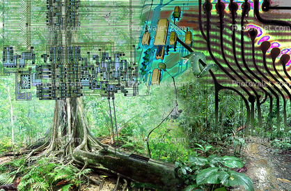 Circuit Jungle, creatures of the electronic age, diodes, grids, Digital Tree