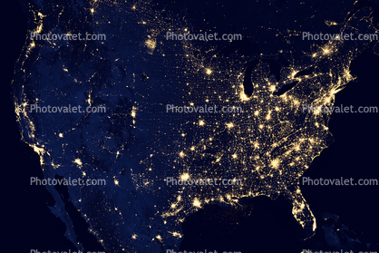 United States of America at Night, nighttime, city lights