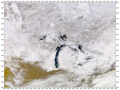 Lake Michigan, Snow Storm over the Great Lakes, USA