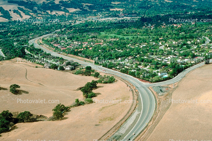 S-Turn, S-Curve, Valley, hills, homes, Danville