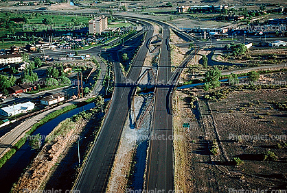 Diamond Interchange, Interstate Highway I-70, Horizon Drive, water canal, Grand Junction, Colorado