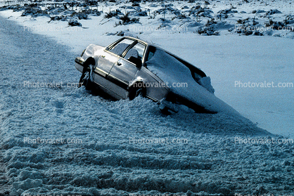 Icy, Slippery Road, Car Accident, Auto, Automobile
