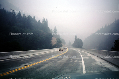 Highway 299, Roadway, Road, Trinity County, Smoke from a forest fire