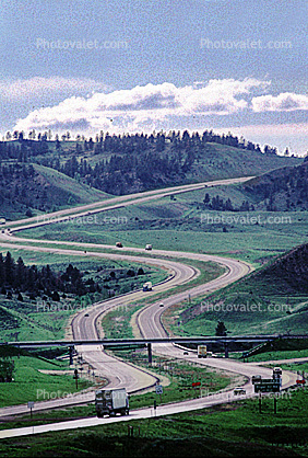 Interstate Highway I-90, Roadway, Road, S-Curve