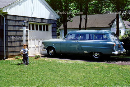 1952 Ford Ranch Wagon, boy, garage, driveway, 1950's
