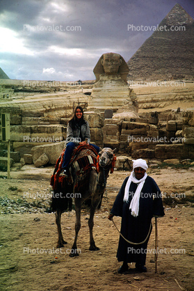 Girl Riding a Camel, Great Pyramid of Cheops, Sphinx