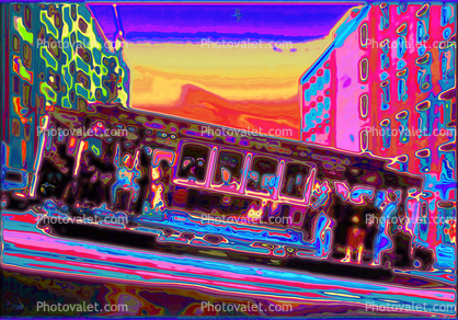 Psychedelic Cable Car, Many Faces, decorated, psyscape