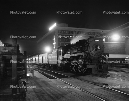 CPR 2343, 4-6-4, Steam Locomotive, Night, nighttime, Canadian Pacific, 1940's