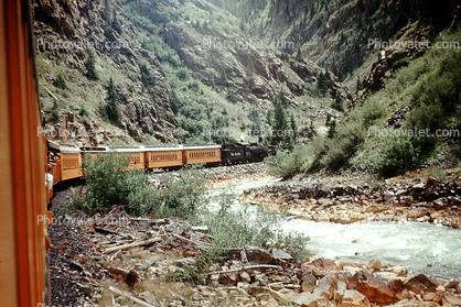 473, River, Valley, Gully, Cumbres & Toltec Scenic Railroad, D&RGW, River, Canyon near Durango