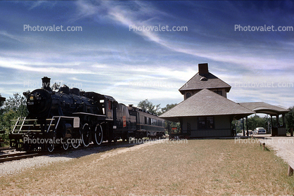 "CV 220, 4-6-0, Alco, Central Vermont Railway, Shelburne Train Station, Depot, ""Locomotive of the Presidents"", 1963, 1960's"