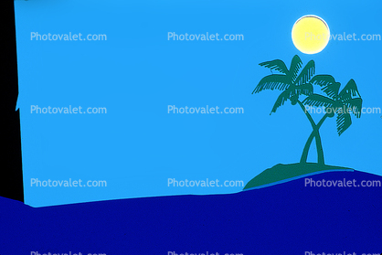 Palm Tree, Ocean, Lone Island, Uncharted Island, Sun, Blank Area for Titles