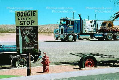 Doggie Rest Stop, Fire Hydrant, Funny, Hilarious, Tire, Cab-over Engine Truck, Cab Forward