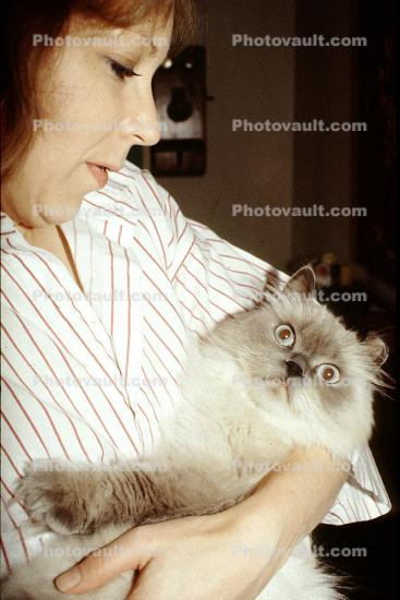 Woman Loving her Cat, face