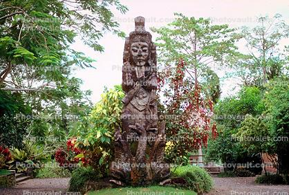 Huge Wood Carving, statue, deity, trees, garden