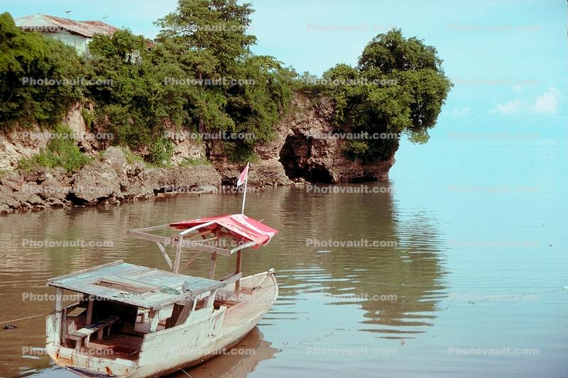 Boat, cliffs, cave, water, trees, Kupang Timor