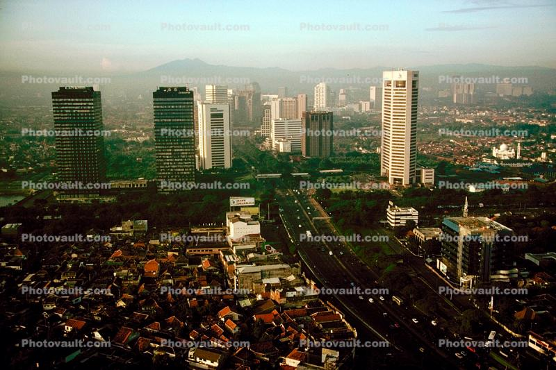 Street, homes, houses Cityscape, Skyline, Building, Skyscraper, Downtown, smog, highrise, Jakarta