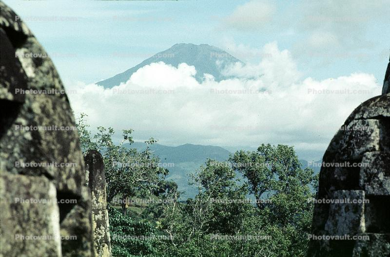 Mountains, Clouds, Trees, Volcano, Borobudur Temple, near Magelang, Central Java, Monument, landmark, shrine