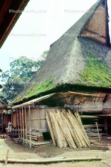 Moss, grass thatched roof house, building, Batak, Sod