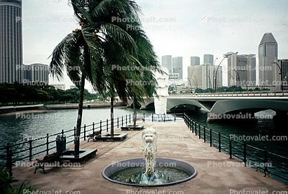 Fountain, Palm Trees, Bridge, Merlion Statue Singapore, Skyline, Buildings, Skyscrapers, Downtown