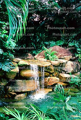 rock garden, waterfall, pool, pond, water