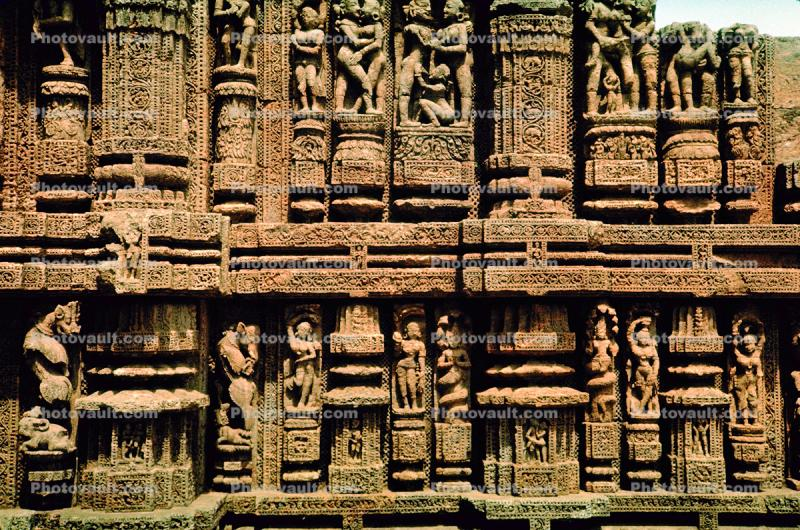 Erotic Stone Carvings, bar-Relief, Sun Temple, Konarak, Orissa, 1950s
