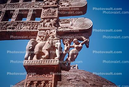 Elephant, Female Figure, carving, The Great Stupa at Sanchi, Eastern Gateway, Buddhist complex, Madhya Pradesh