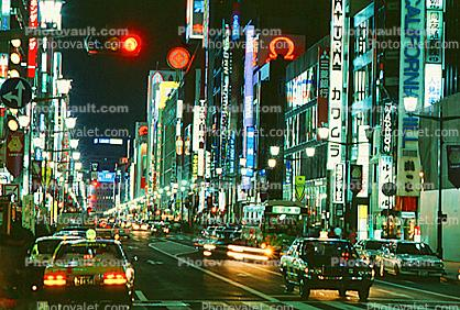 Neon Signs, Highrise Buildings, shops, night, nighttime, Ginza District