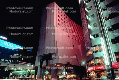 Buildings, shops, highrise, night, nighttime, Ginza District, Tokyo
