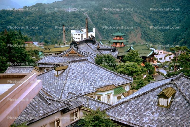 buildings, rooftops, pagoda, hills, mountains, Hakone