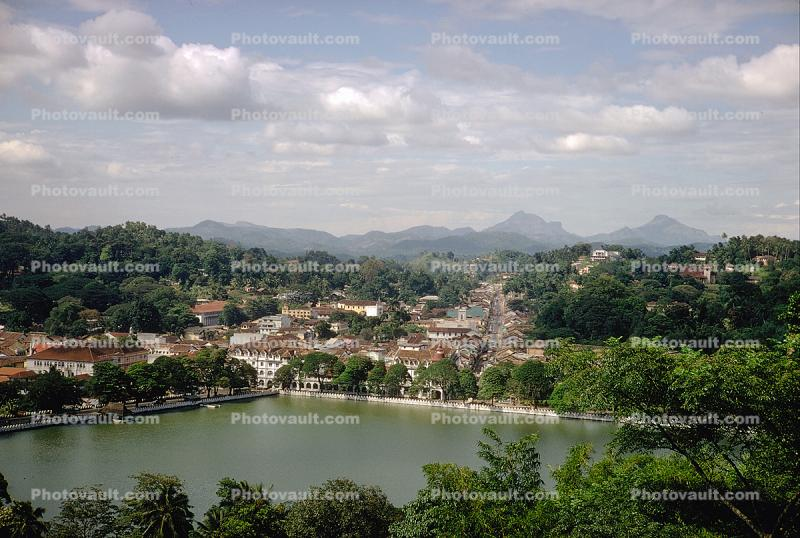 Kandy, village, lake, mountains, trees, buildings, skyline, clouds