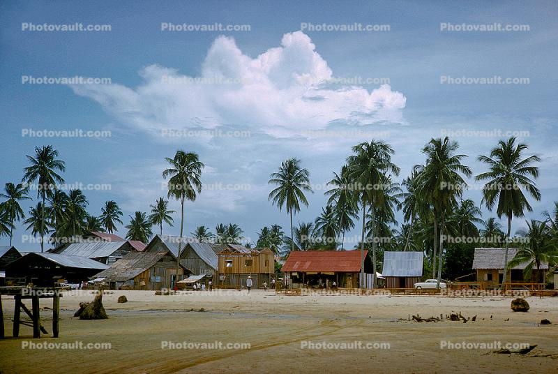 Village, Palm Trees, Beach, Clouds, near Lanjut, 1950's
