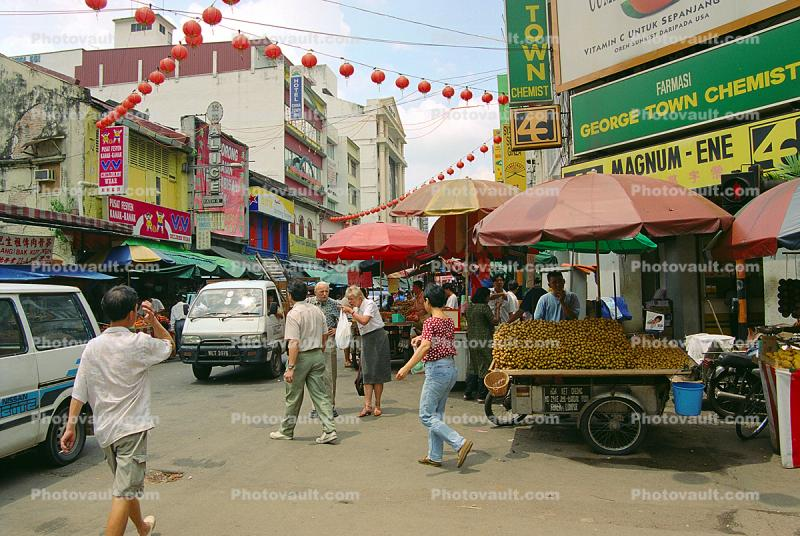 George Town Chemist, Food Stands, Crowds, Cars, Chinatown