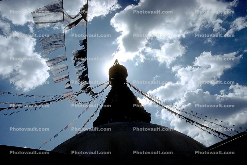 Stupa Boudhanath, Dome, Flags, Kathmandu, Sacred Place, Buddhist Shrine, temple, building