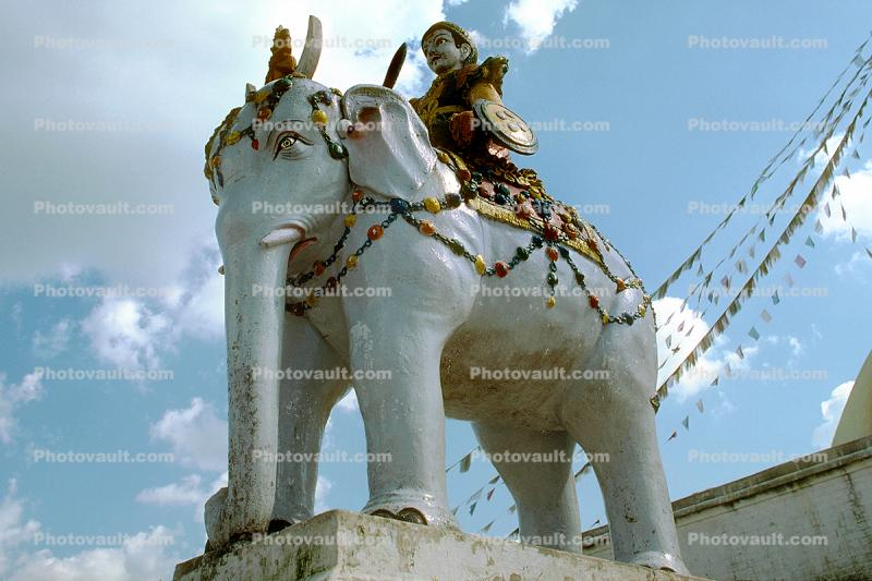Elephant Statue, Stupa Boudhanath, Kathmandu, Sacred Place, Buddhist Shrine, temple, building