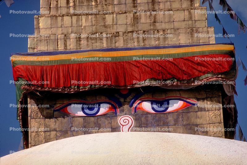 Buddha's Eyes, Stupa Boudhanath, Kathmandu, Sacred Place, Buddhist Shrine, temple, building