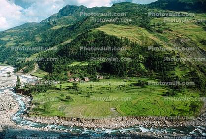 Fields, River, Mountains, Araniko Highway