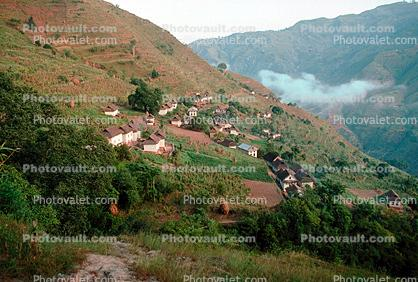 Village, buildings, homes, Bolde, Himalayan Mountains