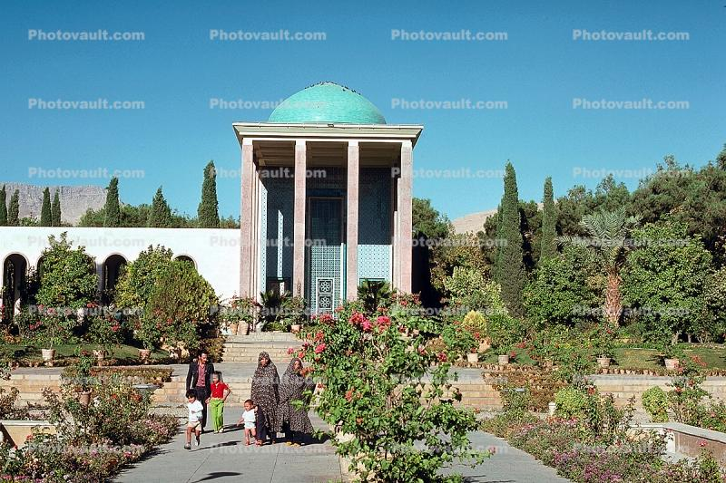 Gardens, building, dome, Tomb of Sadadi, Shiraz, landmark