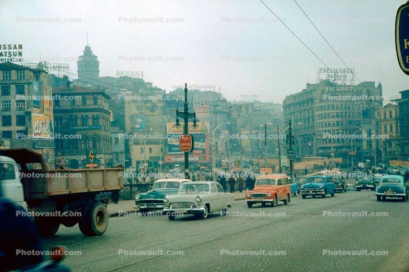 Cars, automobile, vehicles, Istanbul, 1950s
