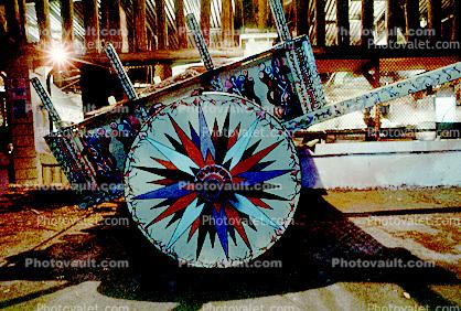 Cart, cartwheel, wagonwheel, ornate, San Jose