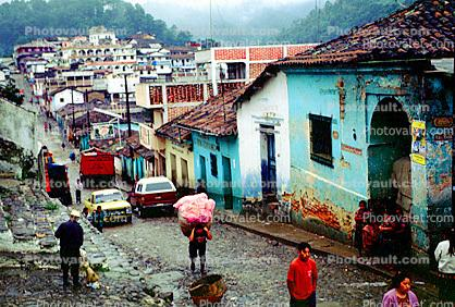 Homes, buildings, cars, street, hill, Chichicastenago, Guatemala, automobile, vehicles