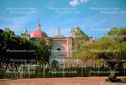 Colonial Church constructed from stones of The Palace, Mitla, 1950s