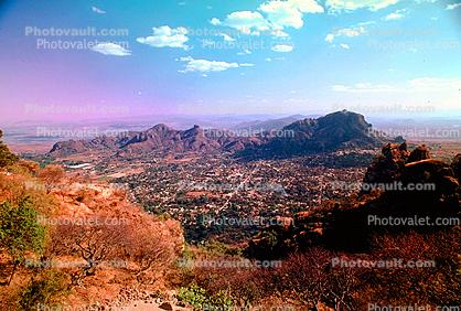 Tepoztlan Valley, mountains, city, streets