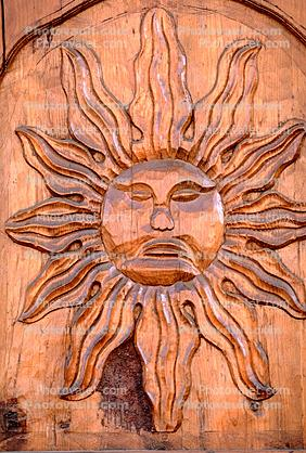 The Sun, Face, Door, wooden, wood, carved, Tepoztlan, Morelos, Mexico