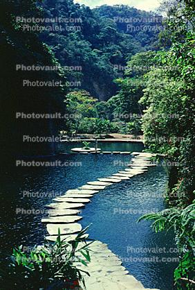 walkway, path, stepping stones, lake, pond, gardens