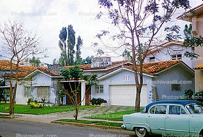 single story house, Building, home, single family dwelling unit, residence, cars, Caracas, Venezuela, 1950s